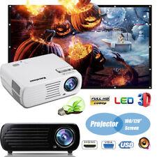 3D 4500 Lúmenes proyector Projector HD1080P USB/SD/AV/HDMI/AV+100/120'' PANTALLA