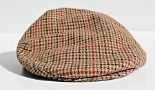 Brooks Brothers M Tan Houndstooth Check Wool Tweed / Camel Hair Flat Cap - Italy