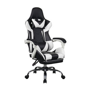 Gaming Office Chair Adjustable With Footrest Chair Home Black White PC Chair