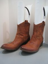 Frye Snakeskin Mahogany Brown Western Boots Sz 7.5  77027 Unique SALE!