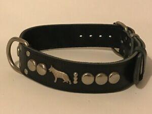 LEATHER DOG COLLAR/GERMAN SHEPHERD/ALSATIAN DOG COLLAR REAL LEATHER