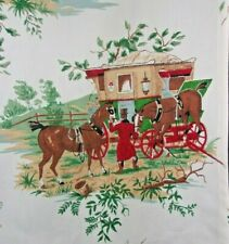 Vintage pastoral mid century novelty cotton fabric curtains drapery panels pair!