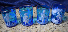 """Mary Gregory Glasses Hand Painted Cobalt Blue White Enamel Figurals 3 7/8"""" Heigh"""
