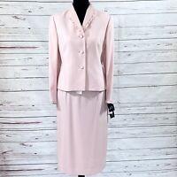 Kasper Petite Women's 2PC Skirt Suit Blazer Buttons Pale Pink Size 10P NWT