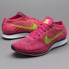 Nike Flyknit Racer Running Shoes Fireberry Volt Pink Size 13 526628-607 air max
