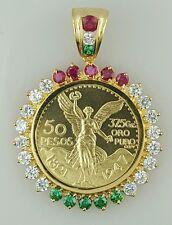 Mexican coin pendant 50 peso necklace centenario Gold Plated, mexican flag cz