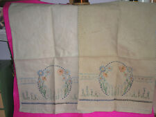 ANTIQUE/VINTAGE TRAY/ARMCHAIR CLOTHS X 2 LINEN HAND EMBROIDERED VARIOUS STITCHES