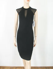 Bailey 44 Watch Me Illusion Mesh Inset Trim Dress Black Bodycon S $178 9623