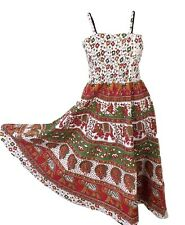 Boho Cotton Dress Bandeau Elephant Print White RED One size 10 12 14 16 18 20
