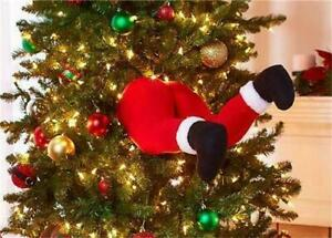 Hilarious Santa Claus Crashed Stuck In the Christmas Tree Ornament Decoration