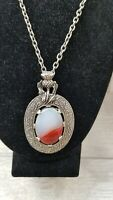 1950s Vintage Thistle Design Art Glass Agate Miracle Necklace Statement piece