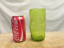 1x - Vintage Crackled BLENKO GREEN Pinched Thumbprint Art Glass Drinking Tumbler