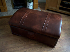 Stunning  Storage Chest in Chestnut Faux Leather With Studded Detail