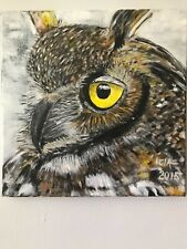 Original acrylic painting- owl on canvas 12x12x0,5inches