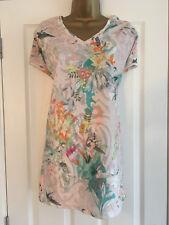 BNWT NEXT Ladies Blush Floral Devore Burnout Short Sleeved Tunic Size 14 RRP £32