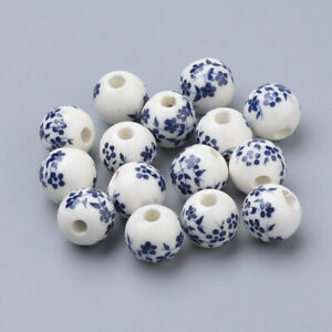 10 Porcelain Flower Beads 10mm White Blue Ceramic Jewelry Making Findings