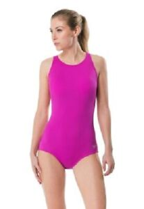 $84 NEW Speedo HIGH NECK Sport SWIMSUIT Very Fuchsia PINK Logo One Piece 6 8