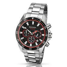 Sekonda 1088 Reloj para Hombre Acero Inoxidable Cronógrafo Dial Negro Rrp £ 89.99