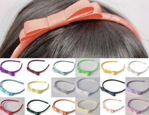 Classic Girls Children's Hair Bow Alice Band Headband Handmade - over 20 Colours