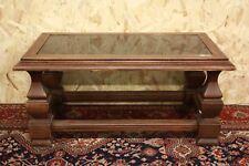 Tavolo tavolino rettangolare in legno e vetro coffee table wood old '900 XX sec.