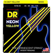 DR NYB-45 NEON HiDef YELLOW COATED BASS STRINGS, MEDIUM GAUGE 4's -  45-105