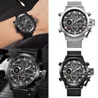 Men's Luxury Dual Time LED Digital Analog Quartz Movt Steel Band Wrist Watches