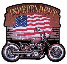 Patriotic Independent American Flag Motorcycle Embroidered Biker Patch Large