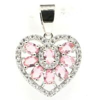 Fantastic Heart Shape Pink Morganite White CZ Woman's Party Silver Pendant