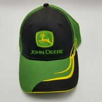 John Deere Rn 125441 Hat Cap Black Green Adult Strapback Tractors Farm JD1