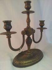 "Candle holder Italian, Antique Bronze 12"" three head"