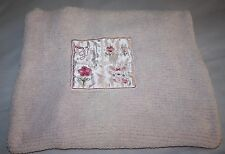 Carters Pink Chenille BABY GIRL BUNNY Satin Patch Baby Blanket Child of Mine