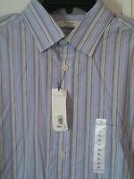 Turnbury Blue White Stripe Long sleeve Button XL Men's Shirt Lustrous Cotton NWT
