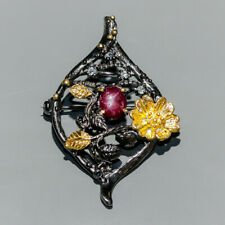 Handmade Natural Star Ruby 925 Sterling Silver Brooch /NB06360