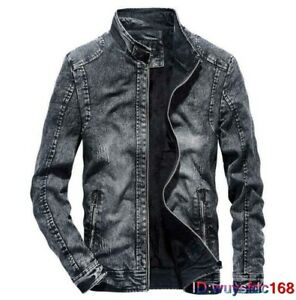 Men's Thicken Denim Jacket Zipper Slim Fit Winter Warm Outwear Stand Collar Coat