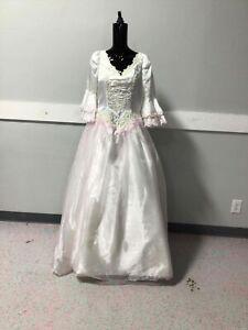 Ladies Wht/Pink Beaded Princess Dress Size 10