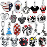 Mouse Silver Charms Beads dangle Fit sterling S925 Necklace European Bracelets