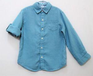 """Janie & Jack """"Vintage Convertible"""" 100% Linen Teal Blue Button Front Top, 5"""