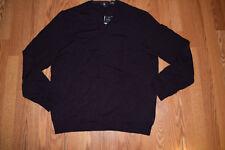 NWT Mens CALVIN KLEIN Dark Chestnut Weight Merino Wool V-Neck Sweater Size XL