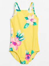 New ListingGap Kids Girl's Yellow Floral One Piece Swim Suit S Small 6-7 Nwt