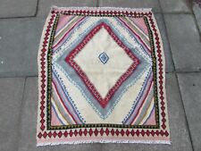 Old Traditional Hand Made Persian Oriental Wool White Pink Kilim 113x100cm