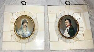Antique French Miniature Napoleon & Empress Josephine Signed Portrait Paintings