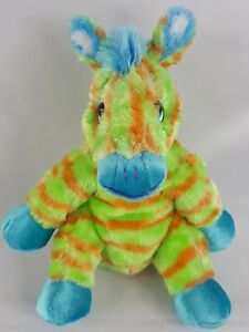 "Princess Soft Toys 10"" ZEBRA BEANIE Orange & Green Striped Plush Toy Very Soft"
