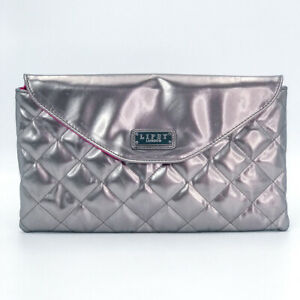 Lipsy London Silver Padded Envelope Clutch Bag with Metal Chain Evening Party