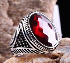 Turkish Handmade 925 Sterling Silver red ruby stone Mens ring ALL SİZE us 381