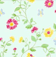 Wallpaper Designer Tissue Floral Vine & Butterflies Green Red Yellow Red on Aqua