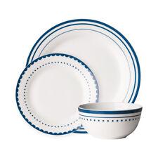 Avie 12pc Saturn Dinner Set Blue Plates Bowls Porcelain Service Dining Set