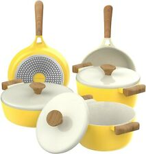 Yellow Induction Stove Top Compatible Dishwasher Ceramic Nonstick Cookware Set
