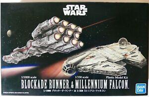 Star Wars Bandai 1/1000 BLOCKADE RUNNER & 1/350 MILLENNIUM FALCON Model Kit NEW