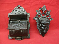 Antique Vintage Pair of Cast Iron Wall Mounted Match Holders