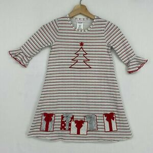Bonnie Jean Girls 8 Christmas Dress Heather Gray Red Striped with Trees Presents